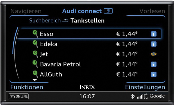New service from Audi connect finds cheapest filling station - Green