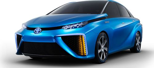 Toyota's latest fuel cell vehicle concept, showing what the four-door mid-size sedan will look like in Radiant Blue. (Credit: toyotanews.pressroom.toyota.com) Click to enlarge.