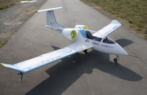 First public test flight of Airbus electric 2-seat E-Fan aircraft at