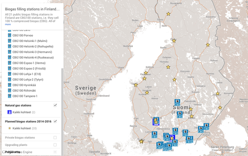 Quickly locate Finland's public biogas filling stations