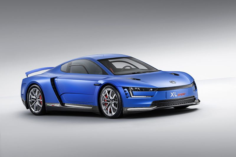 VW's XL1-based XL Sport concept powered by Ducati V2 joins Passat GTE plug-in hybrid on Paris stage