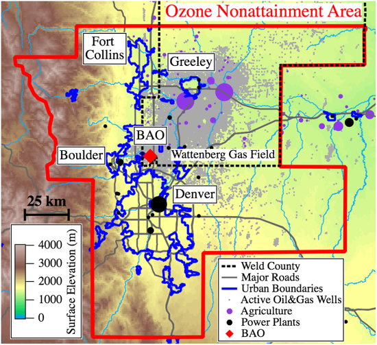 Denver Colorado Elevation Map.Study Quantifies Impact Of Oil And Gas Emissions On Denver S Ozone