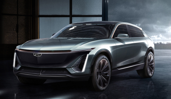 photo of Cadillac shows brand's first fully electric EV at NAIAS; based on BEV3 global architecture image