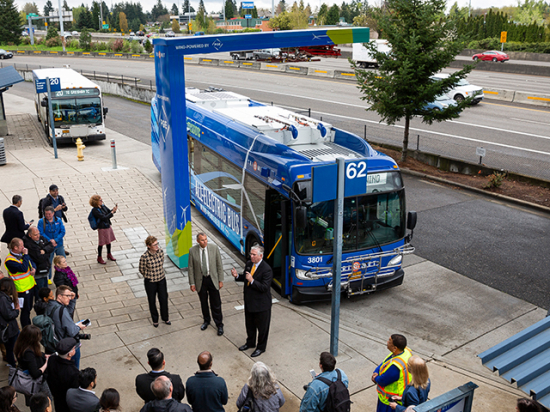 TriMet puts first Xcelsior CHARGE electric bus into