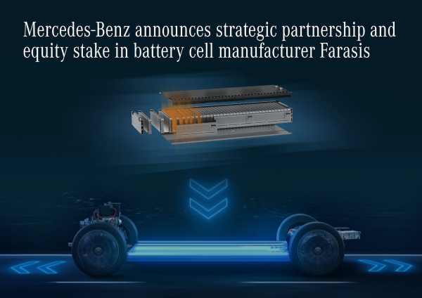 Mercedes-Benz announces strategic partnership and equity stake in Chinese battery cell manufacturer Farasis