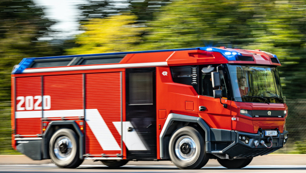 Three fire trucks with Volvo Penta electric drivelines heading to Berlin, Amsterdam and Dubai to begin customer testing