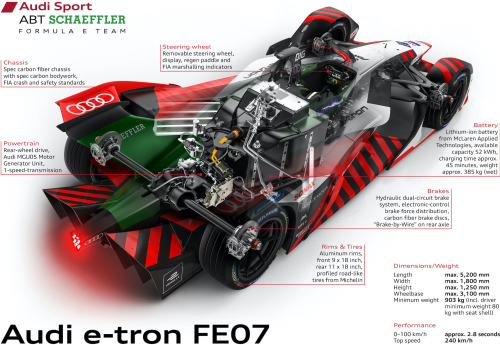 photo of Audi presents e-tron FE07 for Formula E World Championship; in-house powertrain, new MGU image