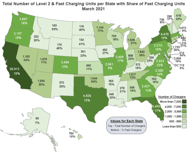 photo of DOE: half of all states now have at least 1,000 non-residential EV charging units image